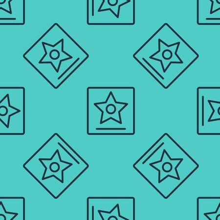 Black line star seamless pattern on green background. Famous sidewalk, boulevard actor. Vector Illustration Banque d'images - 147867703