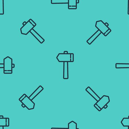 Black line Hammer icon isolated seamless pattern on green background. Tool for repair. Vector Illustration Ilustracja