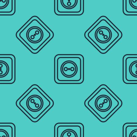 Black line Electrical outlet icon isolated seamless pattern on green background. Power socket. Rosette symbol. Vector Illustration Stock Illustratie