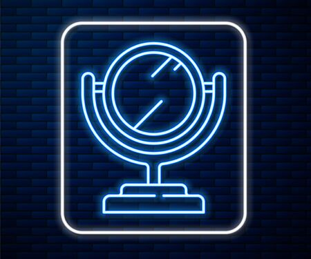 Glowing neon line Round makeup mirror icon isolated on brick wall background. Vector Illustration