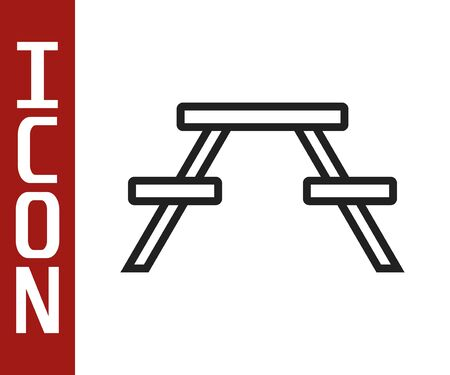 Black line Picnic table with benches on either side of the table icon isolated on white background. Vector Illustration