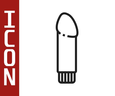 Black line Dildo for games icon isolated on white background. Sex toy for adult. Vaginal exercise machines for intimate. Vector Illustration