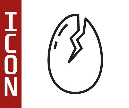 Black line Broken egg icon isolated on white background. Happy Easter.  Vector Illustration Ilustracja