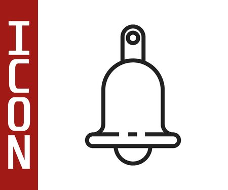 Black line Ringing bell icon isolated on white background. Alarm symbol, service bell, handbell sign, notification symbol. Vector Illustration
