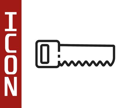 Black line Hand saw icon isolated on white background. Vector Illustration