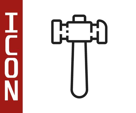 Black line Hammer icon isolated on white background. Tool for repair. Vector Illustration