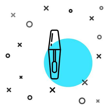 Black line Mascara brush icon isolated on white background. Random dynamic shapes. Vector Illustration 向量圖像