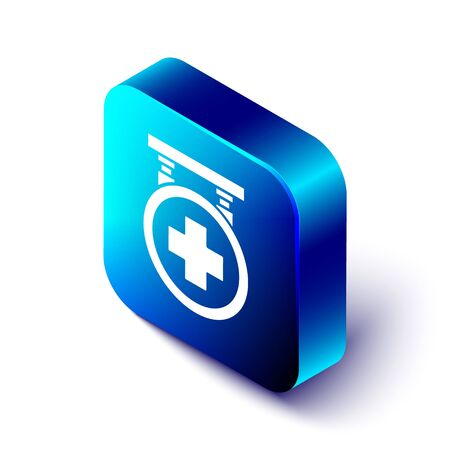 Isometric Hospital signboard icon isolated on white background. Blue square button. Vector Illustration Ilustração
