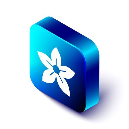 Isometric Lotus flower icon isolated on white background. Blue square button. Vector Illustration Illustration