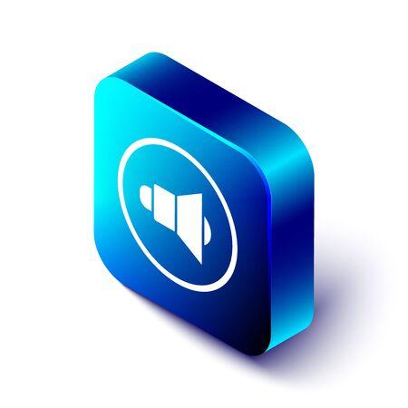 Isometric Speaker volume, audio voice sound symbol, media music icon isolated on white background. Blue square button. Vector Illustration