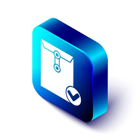 Isometric Envelope and check mark icon isolated on white background. Successful e-mail delivery, email delivery confirmation. Blue square button. Vector Illustration