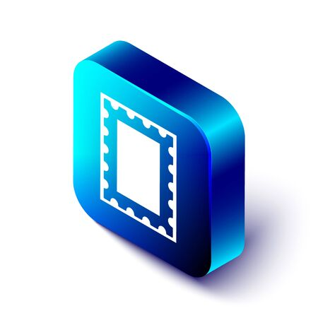 Isometric Postal stamp icon isolated on white background. Blue square button. Vector Illustration