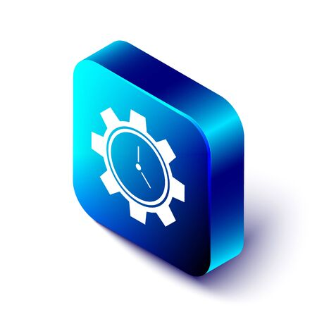 Isometric Time Management icon isolated on white background. Clock and gear sign. Productivity symbol. Blue square button. Vector Illustration