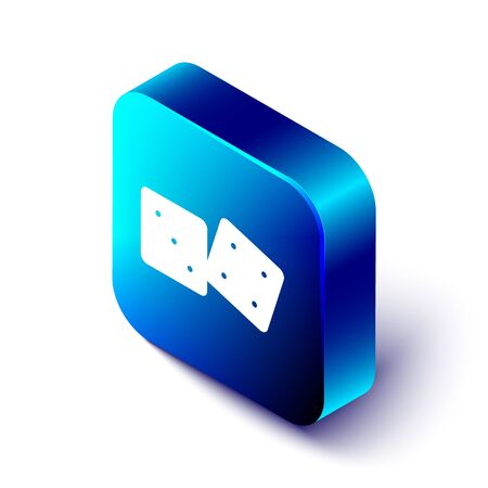 Isometric Game dice icon isolated on white background. Casino gambling. Blue square button. Vector Illustration