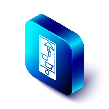 Isometric Buying drugs online on mobile phone icon isolated on white background. Online buying symbol. Blue square button. Vector Illustration