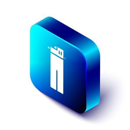 Isometric Lighter icon isolated on white background. Blue square button. Vector Illustration Ilustração