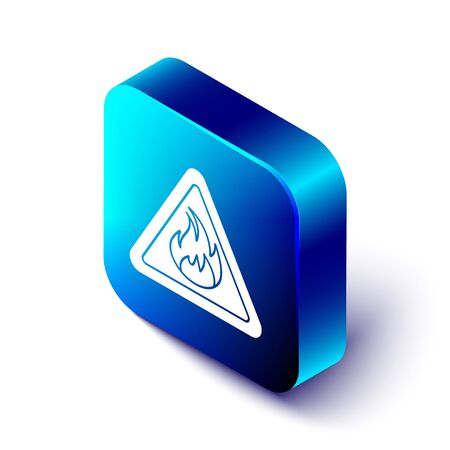 Isometric Fire flame in triangle icon isolated on white background. Warning sign of flammable product. Blue square button. Vector Illustration Ilustração