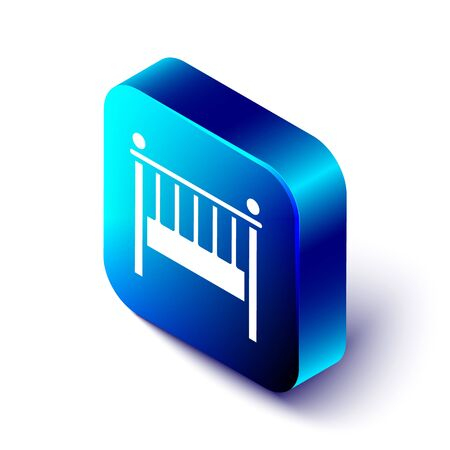 Isometric Baby crib cradle bed icon isolated on white background. Blue square button. Vector Illustration