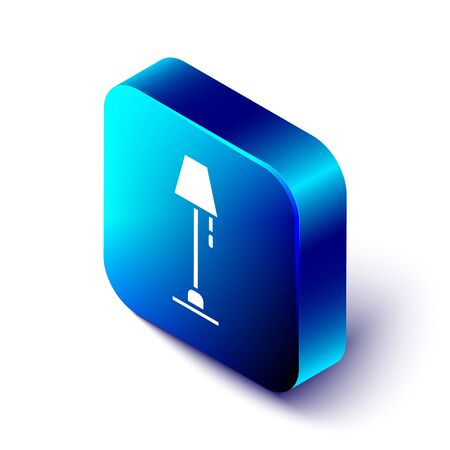 Isometric Floor lamp icon isolated on white background. Blue square button. Vector Illustration Banque d'images - 142965756
