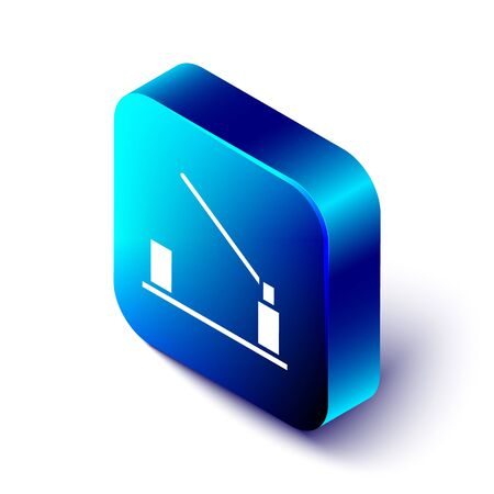 Isometric Parking car barrier icon isolated on white background. Street road stop border. Blue square button. Vector Illustration