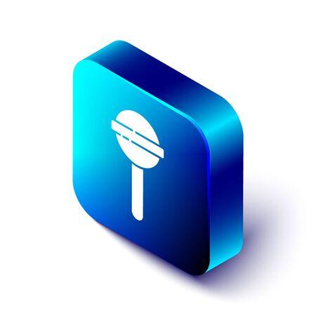 Isometric Lollipop icon isolated on white background. Food, delicious symbol. Blue square button. Vector Illustration Ilustração