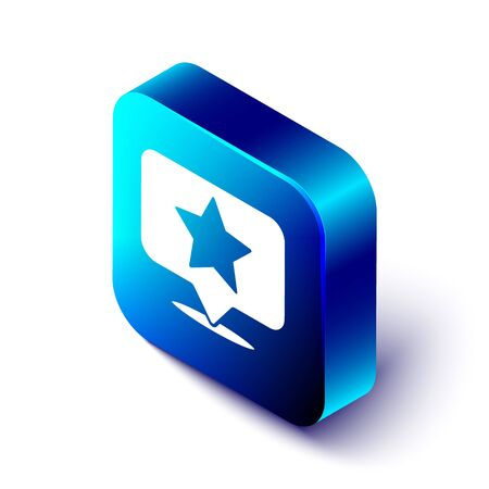 Isometric Map pointer with star icon isolated on white background. Star favorite pin map icon. Map markers. Blue square button. Vector Illustration 矢量图像