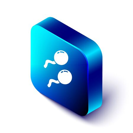 Isometric Sperm icon isolated on white background. Blue square button. Vector Illustration