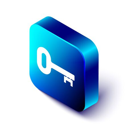 Isometric Old key icon isolated on white background. Blue square button. Vector Illustration