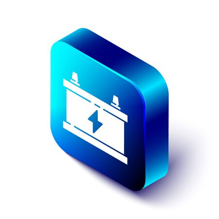 Isometric Car battery icon isolated on white background. Accumulator battery energy power and electricity accumulator battery. Blue square button. Vector Illustration