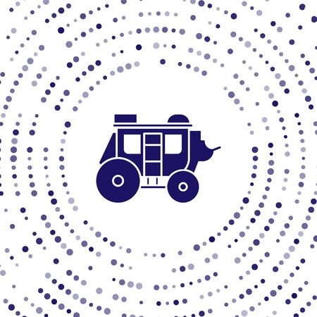 Blue Western stagecoach icon isolated on white background. Abstract circle random dots. Vector Illustration Illustration