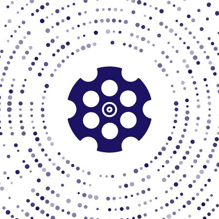 Blue Revolver cylinder icon isolated on white background. Abstract circle random dots. Vector Illustration