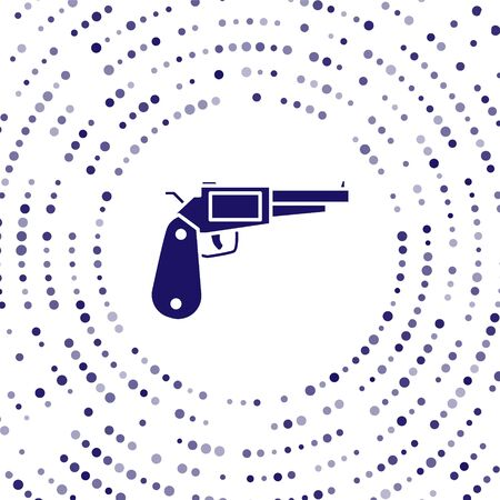 Blue Revolver gun icon isolated on white background. Abstract circle random dots. Vector Illustration