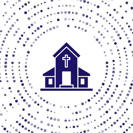 Blue Church building icon isolated on white background. Christian Church. Religion of church. Abstract circle random dots. Vector Illustration