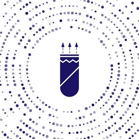 Blue Quiver with arrows icon isolated on white background. Abstract circle random dots. Vector Illustration