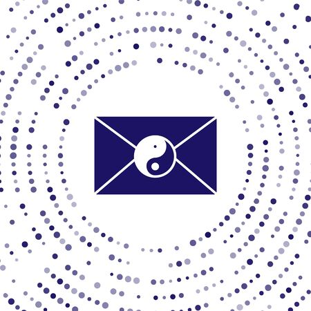 Blue Yin Yang and envelope icon isolated on white background. Symbol of harmony and balance. Abstract circle random dots. Vector Illustration 矢量图像