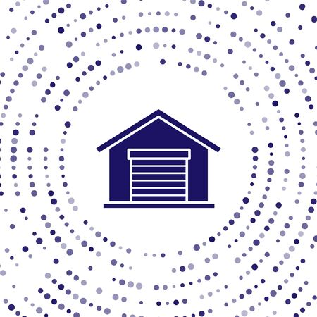 Blue Warehouse icon isolated on white background. Abstract circle random dots. Vector Illustration 向量圖像