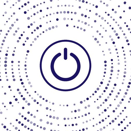 Blue Power button icon isolated on white background. Start sign. Abstract circle random dots. Vector Illustration 向量圖像