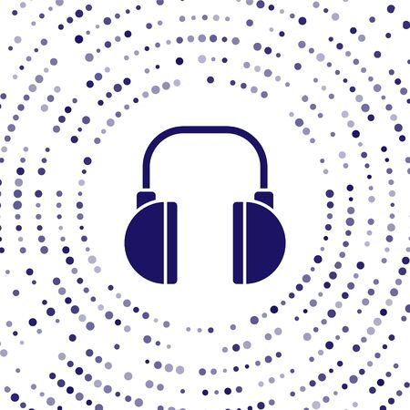 Blue Headphones icon isolated on white background. Earphones. Concept for listening to music, service, communication and operator. Abstract circle random dots. Vector Illustration