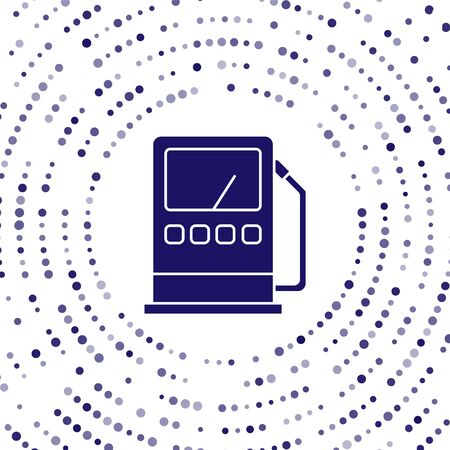 Blue Petrol or gas station icon isolated on white background. Car fuel symbol. Gasoline pump. Abstract circle random dots. Vector Illustration