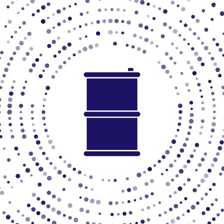 Blue Barrel oil icon isolated on white background. Abstract circle random dots. Vector Illustration