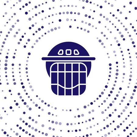 Blue Hockey helmet icon isolated on white background. Abstract circle random dots. Vector Illustration Stock Illustratie