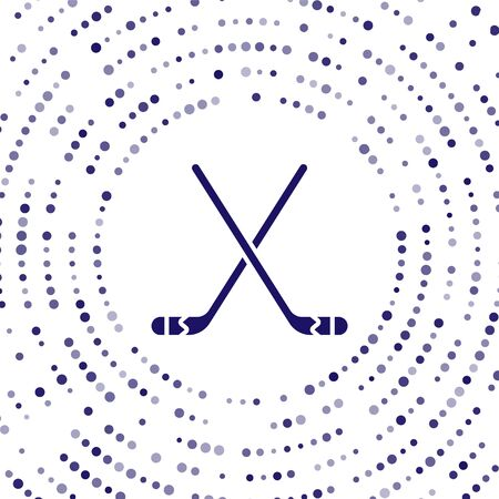 Blue Ice hockey sticks icon isolated on white background. Abstract circle random dots. Vector Illustration