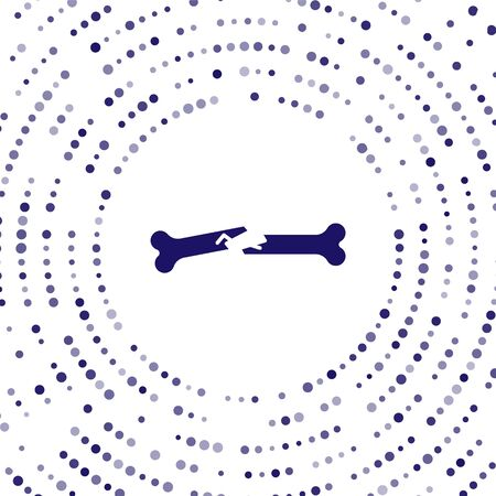 Blue Human broken bone icon isolated on white background. Abstract circle random dots. Vector Illustration