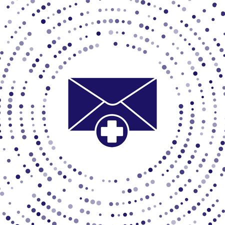 Blue Envelope icon isolated on white background. Received message concept. New, email incoming message, sms. Mail delivery service. Abstract circle random dots. Vector Illustration  イラスト・ベクター素材
