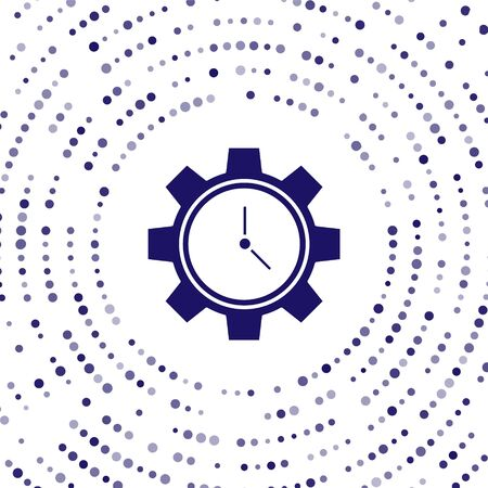 Blue Time Management icon isolated on white background. Clock and gear sign. Productivity symbol. Abstract circle random dots. Vector Illustration