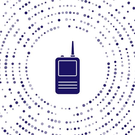 Blue Walkie talkie icon isolated on white background. Portable radio transmitter icon. Radio transceiver sign. Abstract circle random dots. Vector Illustration 向量圖像