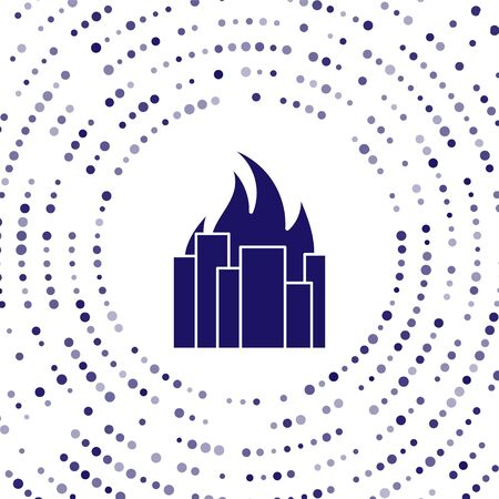 Blue Fire in burning buildings on city street icon isolated on white background. Destroyed city on fire. Abstract circle random dots. Vector Illustration 向量圖像