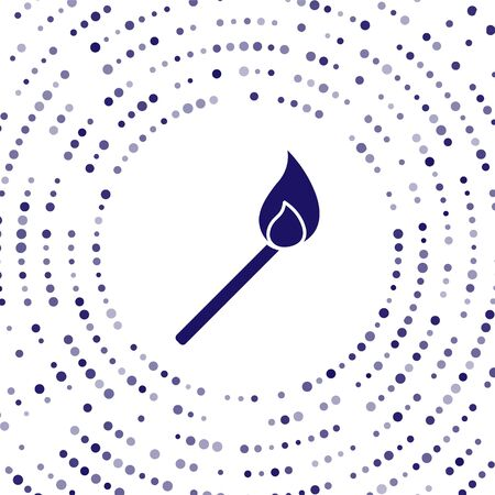 Blue Burning match with fire icon isolated on white background. Match with fire. Matches sign. Abstract circle random dots. Vector Illustration