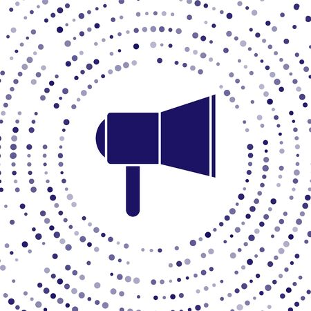 Blue Megaphone icon isolated on white background. Speaker sign. Abstract circle random dots. Vector Illustration Ilustração