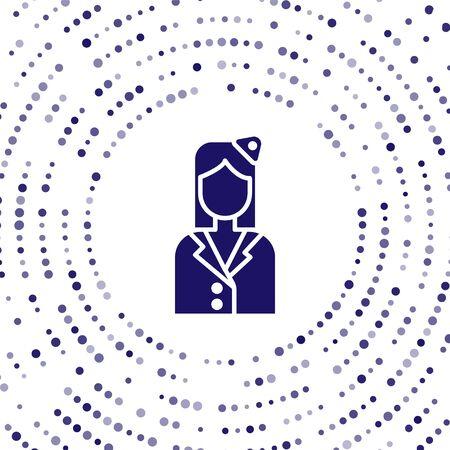 Blue Stewardess icon isolated on white background. Abstract circle random dots. Vector Illustration Illustration